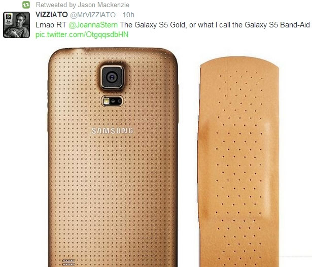 htc exec retweets image of a gold Samsung Galaxy S5 compared to a band aid