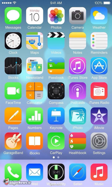 iphone-6 home screen with ios 8