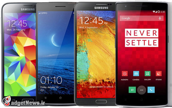oneplus one vs galaxy note 3 vs galaxy s5 vs oppo find 7 video