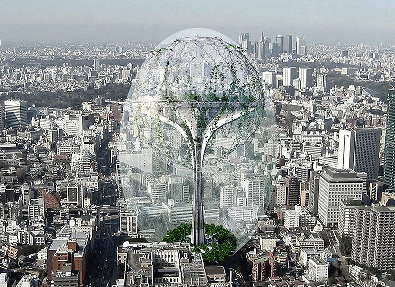 Climatology Tower یک برج با سیستم آب و هوایی مخصوص خود در یک شهر آلوده. طراحی شده توسط یک تیم ژاپنی