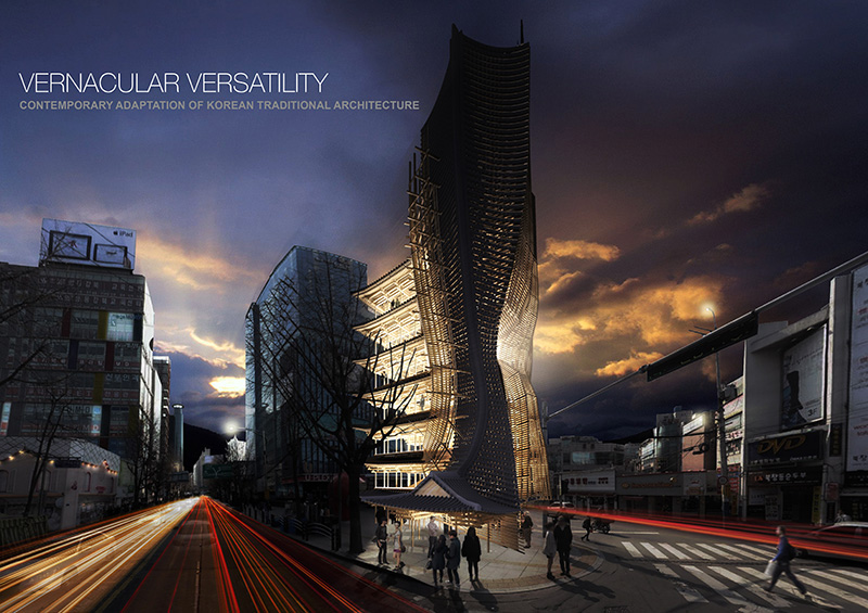 رتبه اول: Vernacular Versatility از طراح آمریکایی رتبه اول به یک طرح آمریکایی تعلق گرفت که یک برج عظیم است با طراحی ساختمان های کوچک تر. این بنا سعی کرده تا با استفاده از شکل خانه های کوچک به یک برج عظیم و زیبا تبدیل شود.