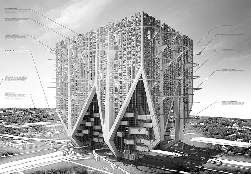 رتبه دوم: Car And Shell Skyscraper از طراح آمریکایی برجی عظیم با سیستم درون شهری مخصوص خود است. این بنا به خیابان، پیاده رو و سایر امکانات ضروی مجهز است.