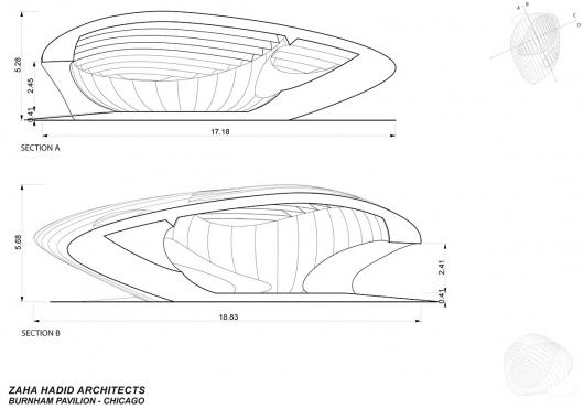 نقشه معماری زیبای«زاها حدید»عمارت کلاهفرنگی برنهام شیکاگو