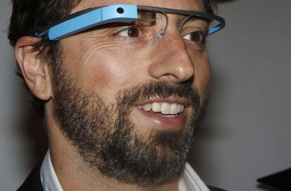 File photo of Google Inc. co-founder Brin wearing Google Glass glasses in New York