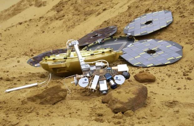 تصویری شبیه سازی شده از کاوشگر بیگل ۲ در مریخ