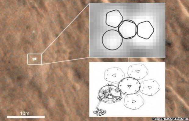 تصویر گرفته شده از مدارگرد مریخ که در آن کاوشگر بیگل ۲ را نشان می دهد