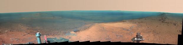 تصویر پانورامی کاوشگر فرصت از سیاره مرخ ( برای مشاهده در ابعاد واقعی ، روی تصویر کلیک کنید )