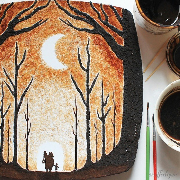 coffee painting leaf grounds ghidaq al nizar coffeetopia 10 620x620 خلق شاهکارهایی زیبا با قهوه