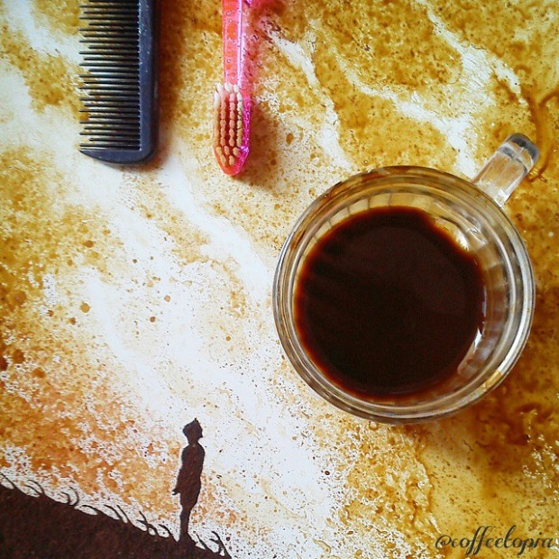 coffee painting leaf grounds ghidaq al nizar coffeetopia 11 620x620 خلق شاهکارهایی زیبا با قهوه