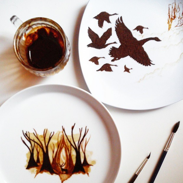 coffee painting leaf grounds ghidaq al nizar coffeetopia 35 620x620 خلق شاهکارهایی زیبا با قهوه