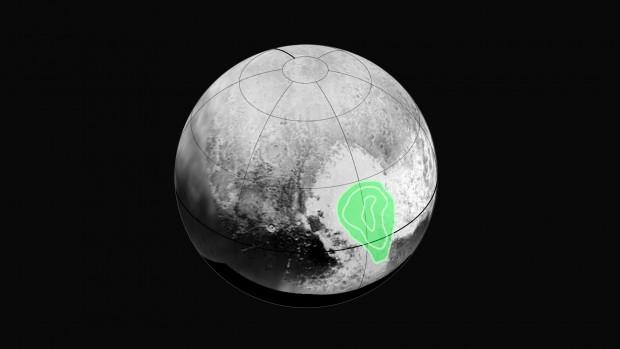 دستگاه رالف (Ralph) نیوهورایزنز نشانه هایی از دی اکسید کربن یخ زده روی نیمه ی باختری قلب پلوتو یافته. پربندهای هم-مرکز نشانگر غلظت این یخ هستند که رو به درون افزایش می یابد. نیوهورایزنز این داده ها را در روز ۱۴ ژوییه گرد آورد و در آغاز روز ۱۶ ژوییه به زمین تراگسیلید.
