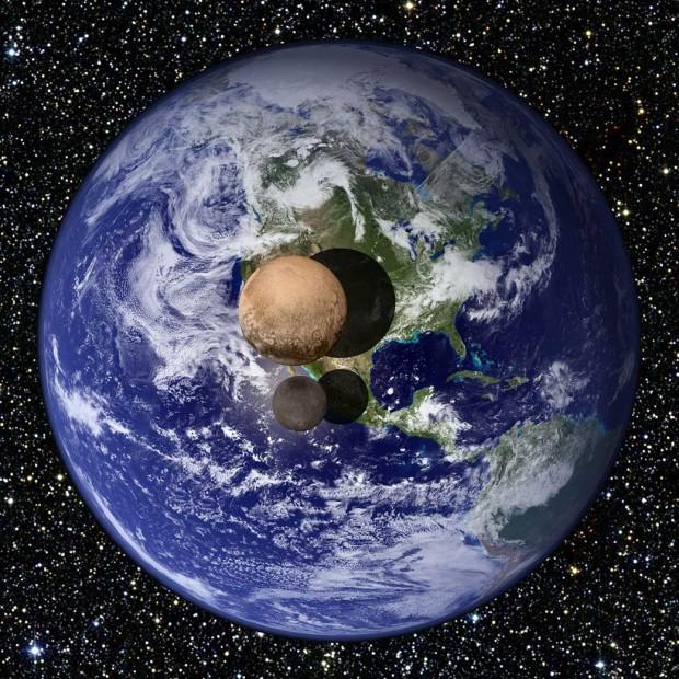 اگر پلوتو و شارون کمی بالاتر از سطح زمین جای داشتند و از فاصله ی دور به آن ها نگاه می کردیم، این گونه دیده می شدند. سنجش های فضاپیمای نیوهورایزنز قطر پلوتو را ۲۳۷۰ کیلومتر (۱۸.۵% زمین)، و قطر شارون را هم ۱۲۰۸ کیلومتر ( ۹.۵% زمین) نشان می دهند.