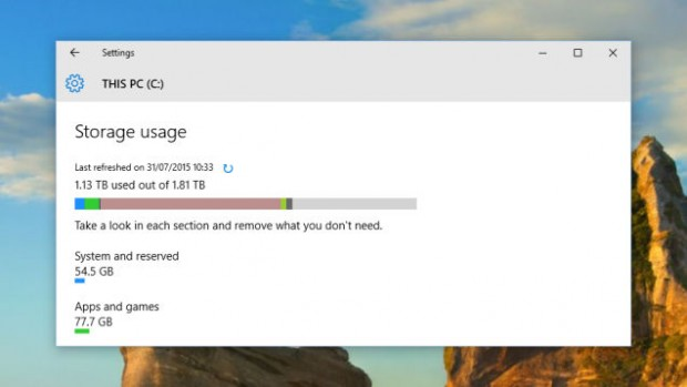 Analyze the storage space on your PC