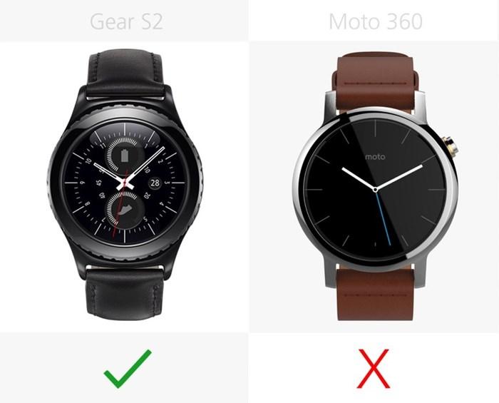 580543 مقایسه تصویری دو ساعت هوشمند سامسونگ گیر اس ۲ و نسل دوم موتورولا موتو ۳۶۰