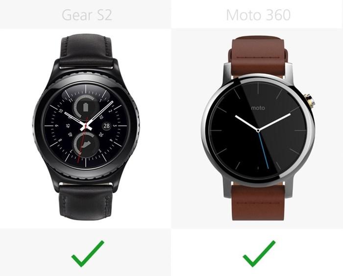 580550 مقایسه تصویری دو ساعت هوشمند سامسونگ گیر اس ۲ و نسل دوم موتورولا موتو ۳۶۰