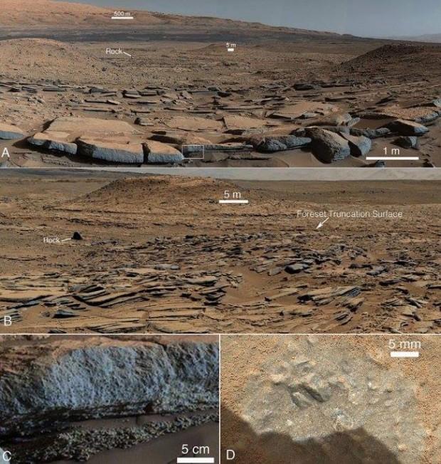 """عکس هایی که کنجکاوی از سازند کیمبرلی روی سیاره ی سرخ گرفته. A) نمایی از جنوب. شیب چینه های پیش زمینه رو به پایه ی کوه شارپ است، که نشان می دهد پیش از پیدایش توده ی کوه، یک گودال باستانی آن جا بوده.B) نمایی از باختر همان سازندهای گِلسنگی. C) نمای نزدیکی از ناحیه ای که در تصویر A با چارگوش نشان داده شده، و ساختار دانه درشت ماسه سنگی را نشان می دهد. D) نمای نزدیکی از دانه هایی در سنگ های شمال ناحیه ای که در عکس A با واژه ی """"Rock"""" نشان داده شده."""