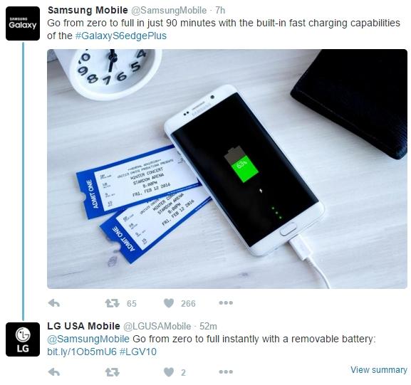 شوخی الجی با سامسونگ بخاطر نبود باتری قابل تعویض در سری گلکسی S6 1