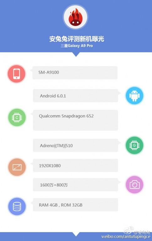 مشخصات گلکسی A9 Pro در بنچمارک AnTuTu مشاهده شد ۱