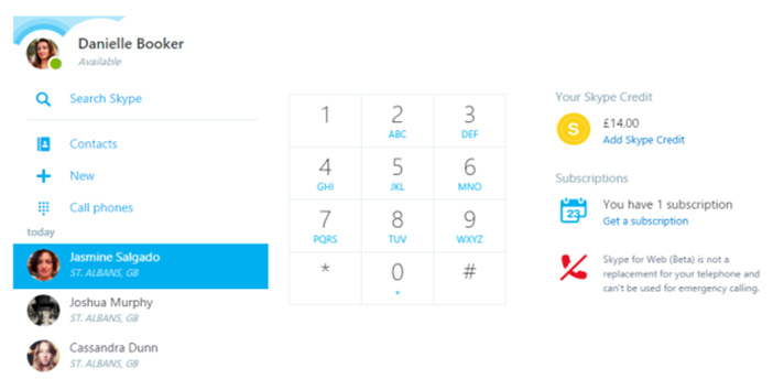 تماس با نسخه تحت وب Skype