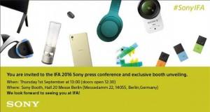سونی دعوتنامههای حضور در رویداد IFA 2016 را ارسال کرد