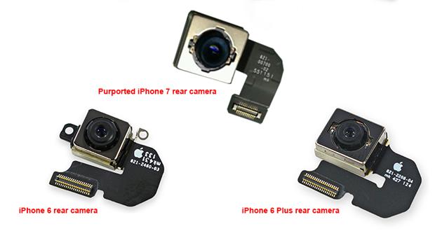 تصویر ماژول دوربین آیفون ۷ به قابلیت تثبیت اپتیکال تصویر در مدل کوچکتر اشاره دارند