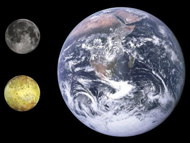 سیاره مشتری - مقایسه ابعاد زمین و ماه و آیو