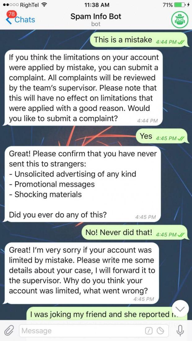 برطرف کردن ریپورت در تلگرام