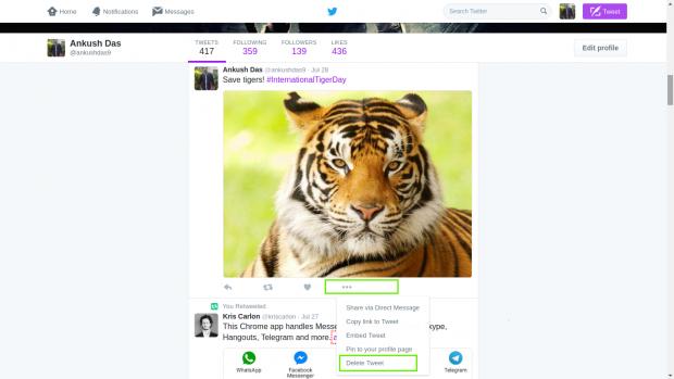 حذف کردن نام کاربری توییتر