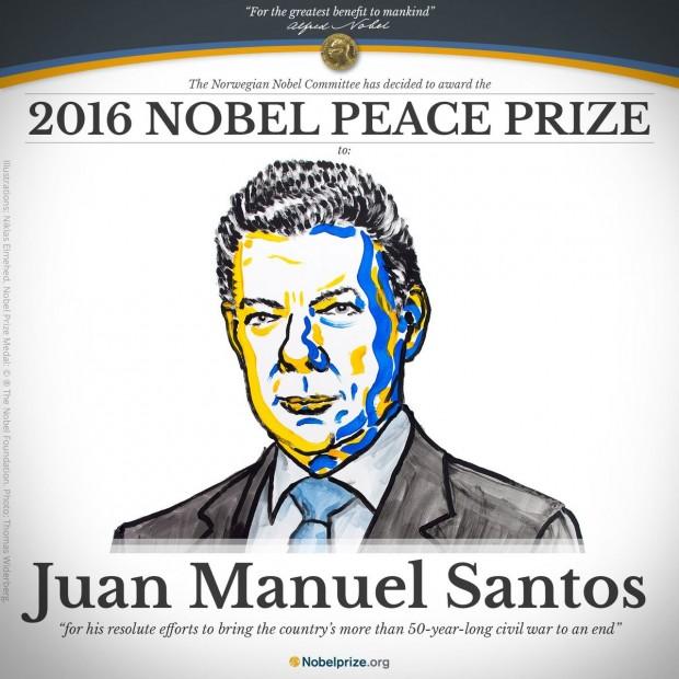 جایزه صلح نوبل 2016 به خوزه مانوئل سانتوس، رئیس جمهور کلمبیا رسید