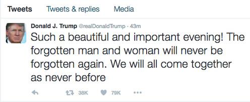 نخستین توییت دونالد ترامپ