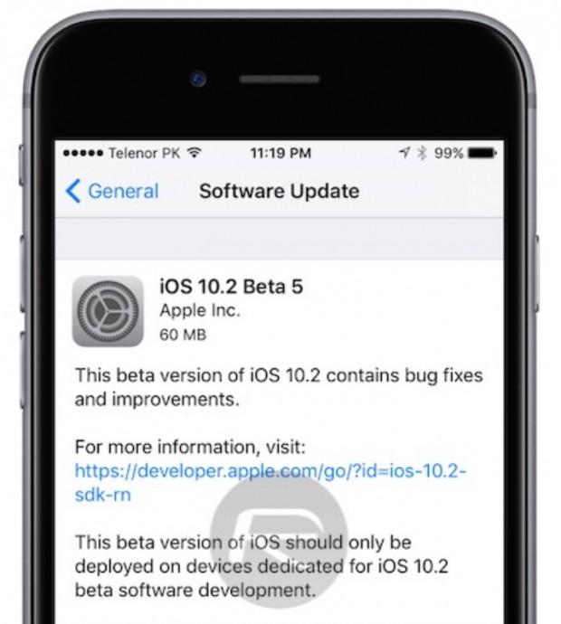 آخرین نسخه بتای iOS 10.2