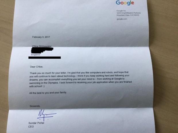 نامه دختر 7 ساله به گوگل