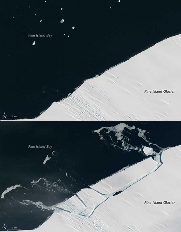 شکستگی تکه یخ 1.6 کیلومتری از توده یخ پاین آیلند در قطب جنوب