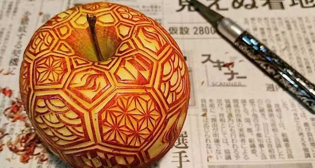 کنده کاری های حیرتانگیز بر روی میوه