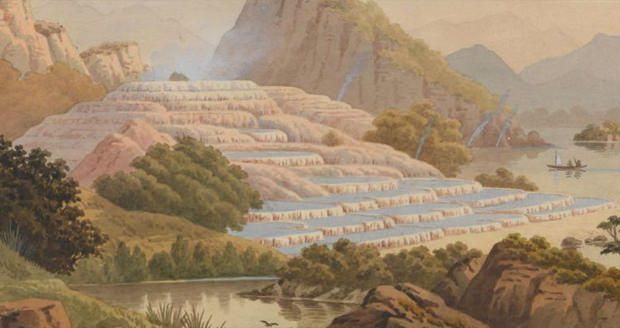 شیب های پلکانی سفید و صورتی نیوزلند