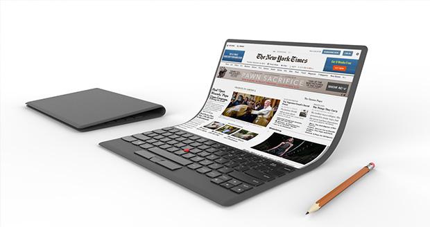 رونمایی لنوو از طرح مفهومی یک لپ تاپ انعطاف پذیر