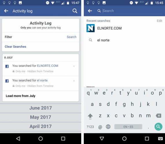 پاک کردن تاریخچه فیس بوک