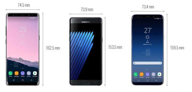 مقایسه ابعاد Galaxy Note 8