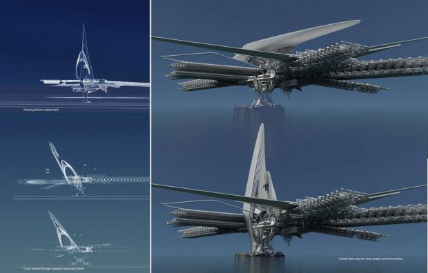 طرحی مفهومی و پیشرفته از یک پل معلق با ظاهری شبیه به رباتهای ترانسفورمرز
