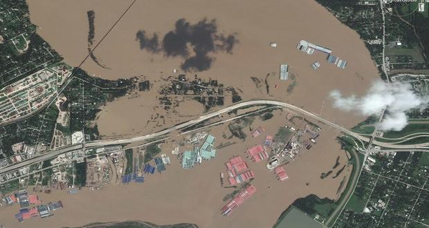 نمایش تاثیرات طوفان هاروی و ویرانیهای به جا مانده در تصاویر ماهواره ای