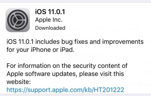 آپدیت آی او اس 11.0.1 برای آیفون
