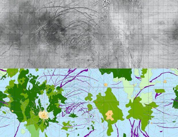 نقشه جغرافیایی قمر اروپا