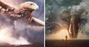 خلاقیت در فتوشاپ؛ تصاویری هنری و فوقالعاده زیبا از حیوانات عظیم الجثه