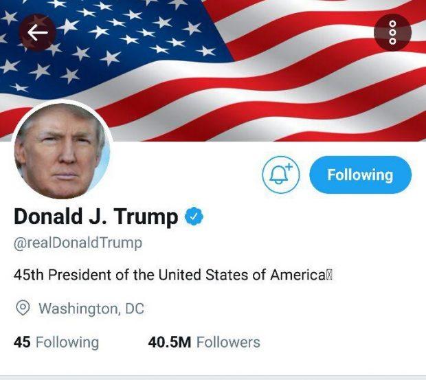 پیج توییتر دونالد ترامپ