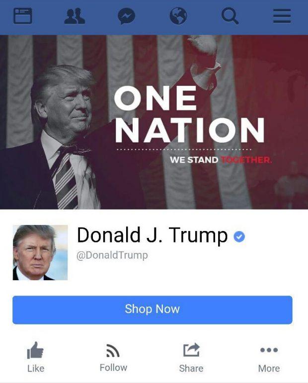 پیج فیس بوک دونالد ترامپ