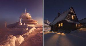تصاویری شگفتانگیز از زیبایی های زمستان در کوههای لهستان