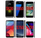 متوسط قیمت فروش گوشی های موبایل