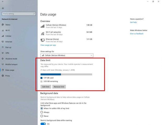 محدودسازی استفاده از دیتا در ویندوز 10
