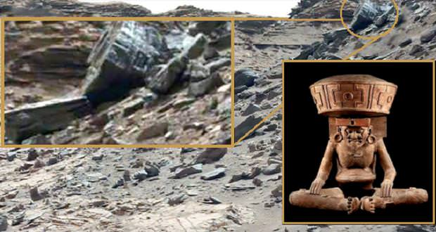 آیا تصاویر ناسا وجود مجسمه موجودات فضایی در مریخ را تایید میکنند؟!+ویدیو