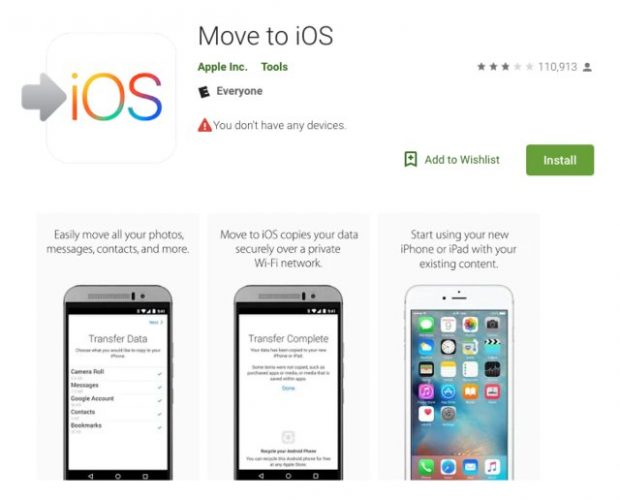 برنامه Move to iOS